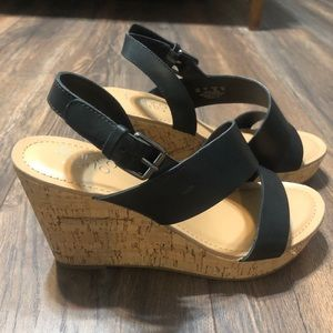 Size 9 barely worn black wedges